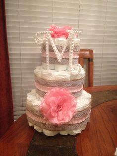 Burlap, lace, pink, pearls diaper cake