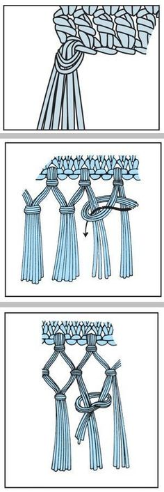 How to make fringe ~ single, double, & triple knot Tutorial for Crochet, Knitting. Crochet Borders, Crochet Stitches, Crochet Patterns, Knitting Projects, Crochet Projects, Diy Paso A Paso, Macrame Projects, Macrame Tutorial, Macrame Knots