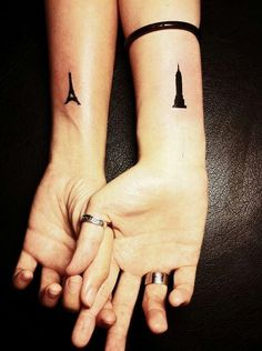 I love the Effiel Tower Matching Sister Tattoos, Small Sister Tattoos, Small Couple Tattoos, Small Tattoos, Paris Tattoo, City Tattoo, Victorian Tattoo, Eiffel Tower Tattoo, Building Tattoo
