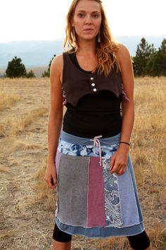 Eco/Upcycled Skirt  Grey Skies Size Medium by DarkstarHandmade