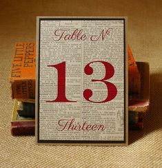 Table Numbers: Handmade Vintage Book Page Table Signs for Vintage, Book Themed, or Rustic Wedding