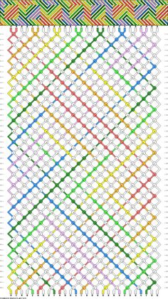 Friendship bracelet pattern - 28 strings, 8 colors - swirl, stripes, squares, rainbow, optical, illusion