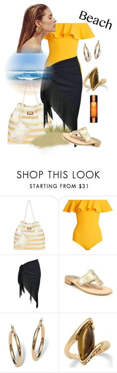 Beach style by mariana-cufari on Polyvore featuring moda, Christian Dior, Lisa Marie Fernandez, Jack Rogers, Sun N' Sand, Palm Beach Jewelry and Clarins