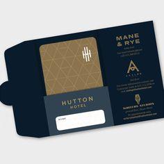 Customized hotel key card and holder designed for Hutton Hotel in Nashville. Collateral Design, Stationery Design, Brochure Design, Branding Design, Hotel Key Cards, Hotel Card, Menu Card Design, Credit Card Design, Hotel Brochure