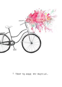 I want to ride my bicycle watercolour and pen.