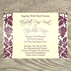 Wedding Invitation Grapes And Wine Winery Vineyard Theme