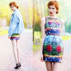 I love her coloring.  The bright, bright red hair and lipstick and snow white skin.  Timo Weiland Sweetheart Cocktail Dress In Landscape Print Dress, Jacket, Esperit Heels