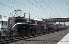 Pennsylvania GG-1 #4932 has Train #111 on the New York & Long Branch at South Amboy, New Jersey on November 3, 1965. Roger Puta photo.