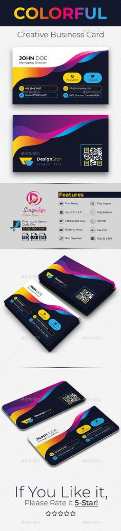 Buy Colorful Creative Business Card by DesignSign on GraphicRiver. This Colorful Creative Business Card Can be used for different types of business. Just add your own business name, sl. Cool Business Cards, Business Names, Business Card Design, Creative Business, Facebook Timeline Covers, Photoshop Illustrator, Name Cards, Creative Design, Graphic Design