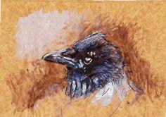 crow painting, acrylic, biro and ink