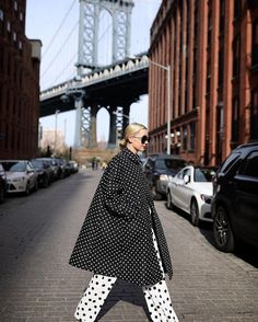 Polka Dot Craze How to Rock the Trendiest Print of 2018 black and white coat pants