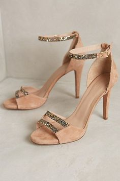 "Hoss Intropia Jewel-Strap Heels Fits true to size Adjustable buckle Suede upper, insole, sole Glass, metal bead detail Spain""}, ""http_status"": window. Pretty Shoes, Beautiful Shoes, Cute Shoes, Me Too Shoes, Shoe Boots, Shoes Heels, Pumps, Nude Heels, Sparkly Heels"