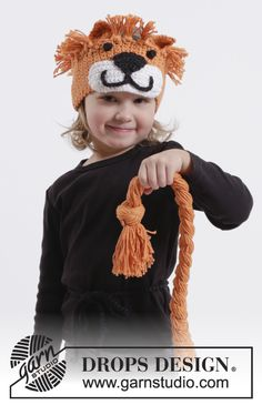 """DROPS Carnival: Crochet DROPS lion head band and plaited lion tail in """"Paris"""". Size 1-10 years ~ DROPS Design"""