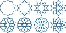 Eight variations of pattern making within a decagon Geometric Drawing, Islamic Architecture, Military History, Sacred Geometry, Pattern Making, Tree Branches, Art Pieces, Life Skills, Drawings