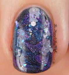 Galaxy Nail Art macro with Bad Bitch Polish Hera, Poseidon, Amethyst Andromeda, Dripping Icicles   Be Happy And Buy Polish https://behappyandbuypolish.com/2017/04/11/bad-bitch-polish-love-your-planet-nail-polish-collection-galaxy-nail-art/