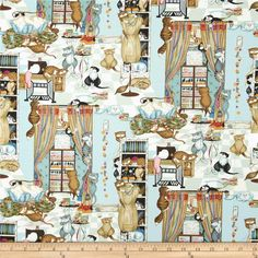Whiskers & Tails Cat Mischief Multi from @fabricdotcom  From Robert Kaufman, this cotton print fabric is perfect for quilting, apparel and home decor accents. Colors include black, shades of blue, red, pink, green and shades of brown.