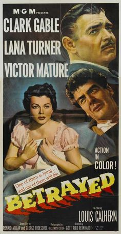 Clark Gable Movie Posters | Betrayed 20x40 Movie POSTER Clark Gable Lana Turner Victor Mature ...