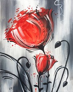 Flower at The Royal Oak Bank) - Paint Nite Events near Ottawa, ON>Whimsical Red Flower at The Royal Oak Bank) - Paint Nite Events near Ottawa, ON> 1 million+ Stunning Free Images to Use Anywhere Easy Paintings, Pictures To Paint, Acrylic Art, Painting Techniques, Red Flowers, Painting Inspiration, Creative Art, Flower Art, Painting & Drawing