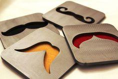 Mustache Coaster Set of 4 Steel Black Brown by ApocalypseFab
