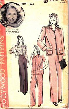 1940s Vintage Womens High Waist Pajamas by allthepreciousthings, $28.00