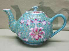 Vintage Chinese Pottery Famille Rose Miniature Teapot by COBAYLEY, $65.00