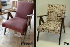 """Dwie sztuki starych foteli, które swoje """"odsiedziały"""" na tarasie domku działkowego po renowacji wróciły na salony :)"""