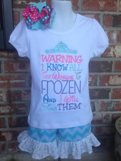 I Know All The Words To Frozen Shirt, I Can Sing Frozen, Frozen Appliqué, Custom Frozen Shirt on Etsy, $25.00