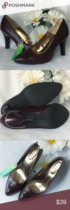 Sole Senseability Maroon with Gold Trim Heels New Gorgeous maroon (almost brown depending on the light) heels with a soft cushioning sole. SZ 8 1/2 Medium. New with tags, no box. Smoke free home. 🌺Thank you for shopping my closet😊🌺 Solesenseability Shoes Heels