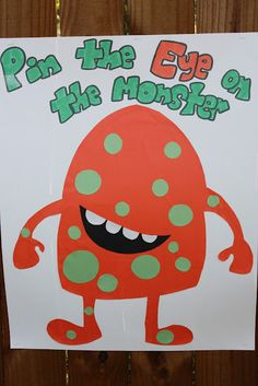Pin the eye on the monster game for monster party! Couples Halloween, Halloween Class Party, Halloween Games For Kids, Kids Party Games, Halloween Birthday, Halloween Activities, Halloween Crafts, Toddler Halloween Parties, Halloween Treats