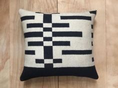 Wool Pillow  Black Beige Geometric Tribal Modern