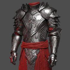 WIP - Red knight , Damien Guimoneau - Source by tportlieb - Fantasy Armor, Fantasy Weapons, Dark Fantasy Art, Armadura Medieval, Red Knight, Knight Armor, Armor Concept, Weapon Concept Art, Arm Armor