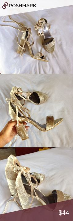 Velvet wrap around square heel New in box I absolutely love these but they're way too big (I'm 5.5) these are size 6 but fit more like 6.5 they're size 37. Wrap around leg or tie in a cute knot. Brand is Boohoo For Love and Lemons Shoes Heels