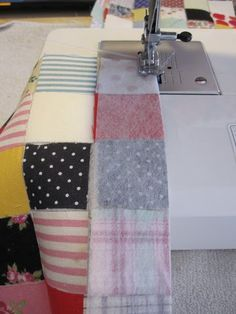 My Postage-Stamp Scrap Fabric Patchwork Quilt   how to sew patchwork blocks together so all the seams line up. Brilliant tutorial.