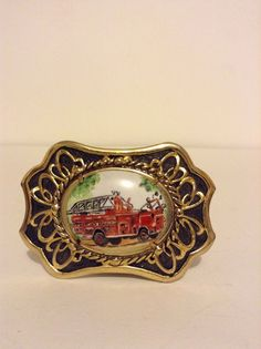 Vintage Gold Toned Cabochan Fire Truck Belt Buckle Fashion Accessory #Unbranded