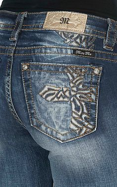 Miss Me Women's Medium Wash with Copper Cross Embroidery Open Pocket Boot Cut Jeans | Cavender's