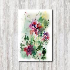 Arte de pared abstracto imprimir acuarela, acuarela pintura arte Print, Floral