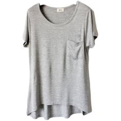 Halife Women Short Sleeve High Low Modal T-Shirts Tees Tops with... ($8.39) ❤ liked on Polyvore featuring tops, t-shirts, grey t shirt, grey top, pocket tops, grey tee en short sleeve pocket tee