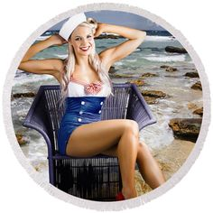 50s Round Beach Towel featuring the photograph Sexy And Stylish Blonde Vintage Pinup Woman by Jorgo Photography - Wall Art Gallery