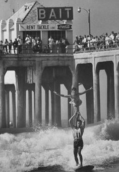 The Boda Surfamily: Surf Tandem. Yeah I can't even surf by myself. Vintage California, California Dreamin', Vintage Surfing, Le Grand Bleu, Huntington Beach Ca, Hawaii, Costa, Beach Images, Beach Pictures