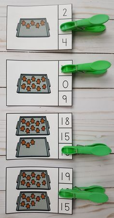 Gingerbread Numerals to 20 Clip Cards Fun Math, Math Games, Maths, Christmas Math, Christmas Themes, Kindergarten Teachers, Kindergarten Activities, Matching Cards, Ten Frames