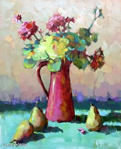Red Pitcher by Trisha Adams Oil ~ 30 x 24