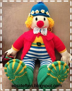 Vintage Crochet 1980s Mr Amp Mrs Clown Stuffed Doll Toy Pdf