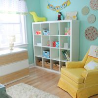 White, teal and yellow- Good color inspiration to use with my new birch-colored expedit!