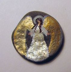 Cape Cod Artist Painted Small Rock Pocket Angel