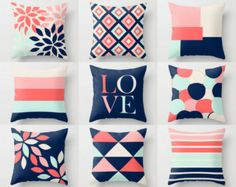 Actually, I don't like this color combination , but I didn't want to forget I didn't like it! Throw Pillow Covers Accent Pillow Cover Decorative Pillow Covers Geometric Pillow Covers Home Decor Coral Navy Blush Aqua Beige Pillow Cover Design, Decorative Pillow Covers, Throw Pillow Covers, Cushion Covers, Home Decor Colors, Rooms Home Decor, Living Room Decor, Coral Home Decor, Wall Colors