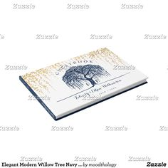 Elegant Modern Willow Tree Navy Blue Gold Wedding Guest Book Modern, bold, and contemporary willow tree themed wedding guestbook designed in a bold and modern colour palette of navy blue, contrasting white and faux gold foil elegant elements and simple modern embellishments. The design features our beautiful hand-drawn original willow tree artwork illustration, creating a clean, bold and elegant willow tree themed wedding design. Affiliate ad link.
