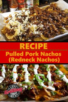 This pulled pork nachos recipe is a very creative twist on traditional nachos, using pulled pork meat as the base ingredient, with home-made chips Pulled Pork Meat, Smoked Pulled Pork, Pulled Pork Recipes, Bbq Meat, Bbq Ribs, Smoked Boston Butt Recipe, Redneck Recipes, Grilled Pork, Nacho Recipes