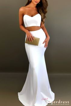 Two Piece Fitted Long Prom Dresses, Classy White Formal Graduation Party Dress Best Formal Dresses, Short Dresses, Prom Dresses, Formal Prom, Two Piece Formal Dresses, Classy Evening Gowns, Evening Dresses, White Dress Outfit, Dress Outfits