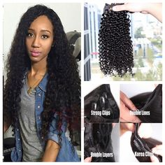 Raw Malaysian Virgin Hair Afro Curl Clip Ins Double Wefted Remy Afro Kinky Curly Clip In Human Hair Extensions For Black Women