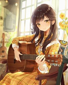 Anime Girl Playing a Guitar, - Yellow Hair - Karikatur Area Anime Neko, Kawaii Anime Girl, Manga Anime Girl, Cool Anime Girl, Pretty Anime Girl, Anime Girl Drawings, Girls Anime, Beautiful Anime Girl, Anime Artwork